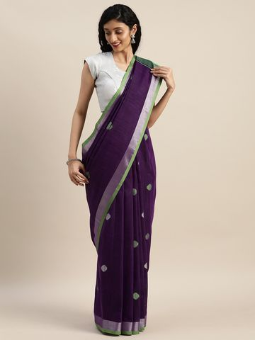Vastranand | VASTRANAND  Purple & Green Linen Blend Woven Design Banarasi Saree