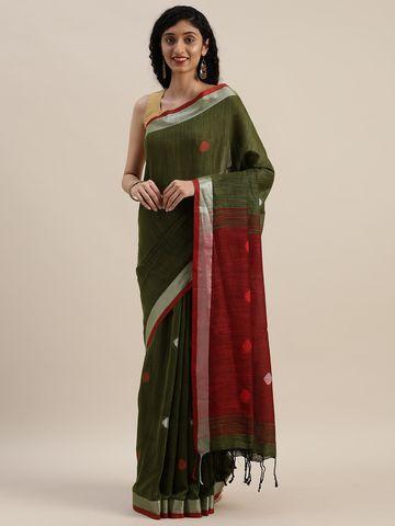 Vastranand   VASTRANAND  Green & Maroon Linen Blend Woven Design Banarasi Saree