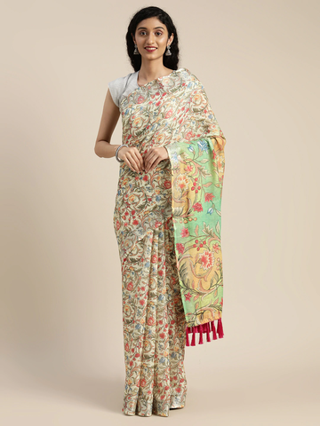Vastranand | VASTRANAND  Yellow Printed Linen Blend Saree