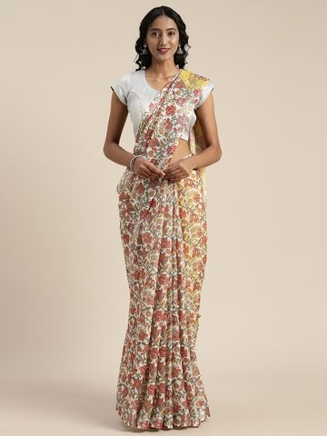 Vastranand | VASTRANAND  White & Beige Linen Blend Printed Saree