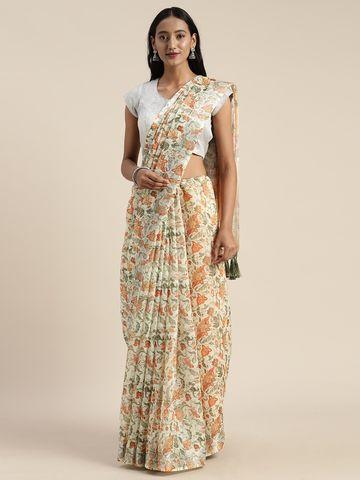 Vastranand | VASTRANAND  White & Peach-Coloured Linen Blend Printed Saree