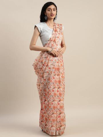 Vastranand | VASTRANAND  Off-White & Orange Linen Blend Printed Saree