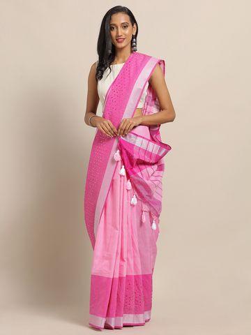 Vastranand   VASTRANAND Pink Linen Blend Embellished Banarasi Saree