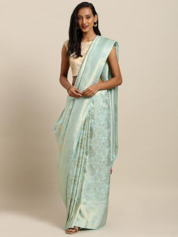 Vastranand | VASTRANAND  Sea Green & Gold-Toned Silk Blend Woven Design Baluchari Saree