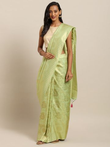 Vastranand | VASTRANAND  Green & Gold-Toned Silk Blend Woven Design Baluchari Saree