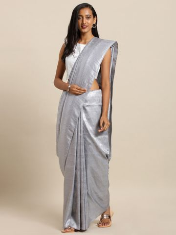 Vastranand | VASTRANAND  Grey & Silver-Toned Silk Blend Woven Design Baluchari Saree