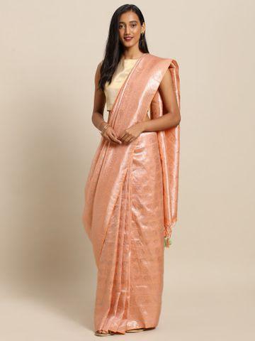 Vastranand | VASTRANAND  Peach-Coloured Silk Blend Woven Design Baluchari Saree