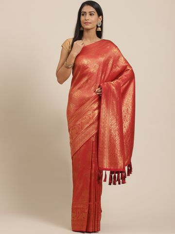 Vastranand | VASTRANAND Red & Golden Woven Design Banarasi Saree