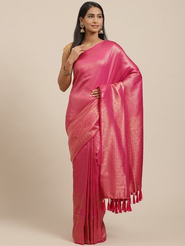 Vastranand   VASTRANAND Pink & Golden Woven Design Banarasi Saree