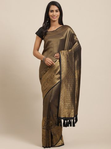 Vastranand | VASTRANAND Black & Golden Woven Design Banarasi Saree