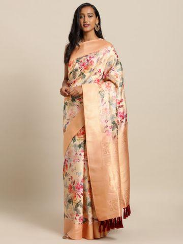 Vastranand | VASTRANAND  Peach-Coloured & Pink Silk Blend Printed Banarasi Saree