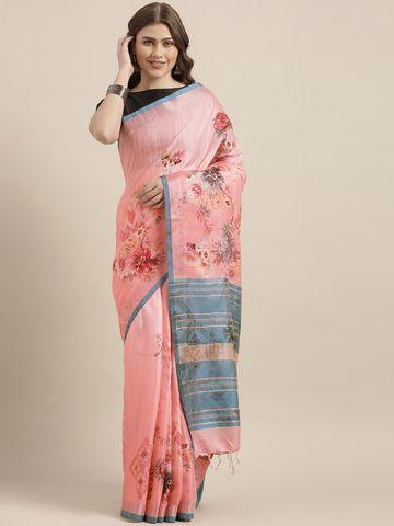 Vastranand | VASTRANAND  Pink & Blue Linen Blend Printed Saree