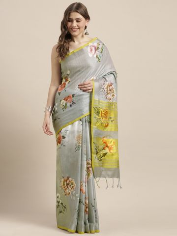 Vastranand | VASTRANAND  Grey & Yellow Linen Blend Flower Angolla Digital Printed Saree