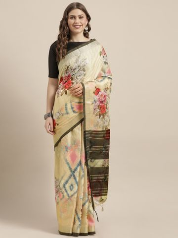 Vastranand | VASTRANAND  Beige & Black Linen Blend Flower Angolla Digital Printed Saree