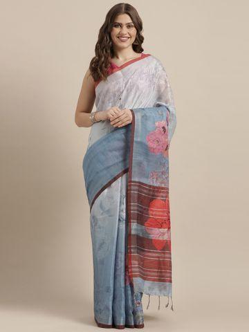 Vastranand | VASTRANAND  Blue & Pink Linen Blend Printed Saree