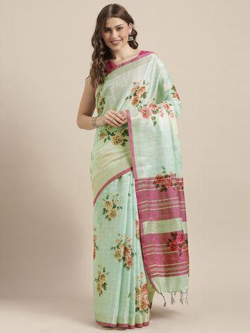 Vastranand | VASTRANAND  Sea Green Printed Linen Blend Saree