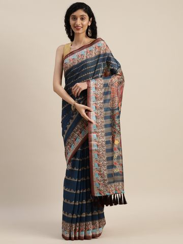 Vastranand | VASTRANAND Blue & Beige Linen Blend Printed Saree