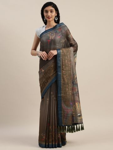 Vastranand | VASTRANAND  Coffee Brown & Beige Linen Blend Printed Saree