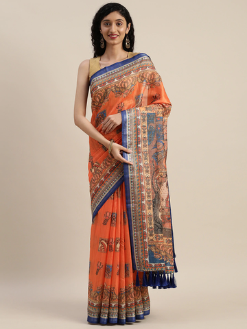 Vastranand | VASTRANAND  Orange & Blue Linen Blend Printed Saree