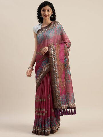Vastranand | VASTRANAND  Pink & Blue Linen Blend Kalamkari Printed Saree