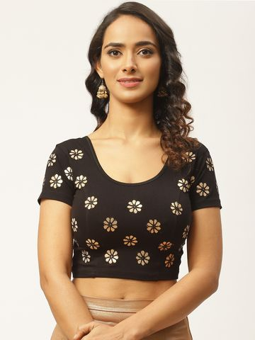 Vastranand | VASTRANAND Women Black & Golden Gotta Patti Stretchable Saree Blouse