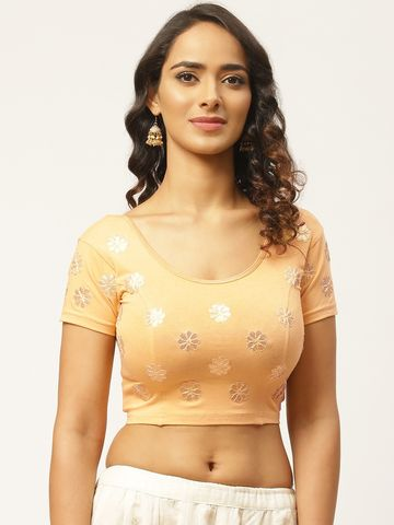 Vastranand | VASTRANAND Women Beige & Golden Gotta Patti Stretchable Saree Blouse