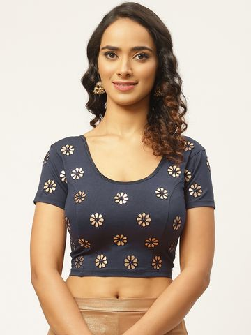 Vastranand | VASTRANAND Women Navy Blue & Golden Gotta Patti Stretchable Saree Blouse