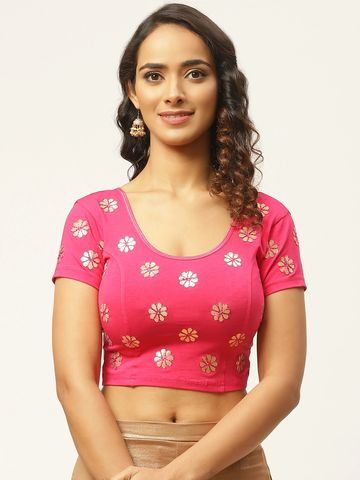 Vastranand | VASTRANAND Women Fuchsia & Golden Gotta Patti Stretchable Saree Blouse