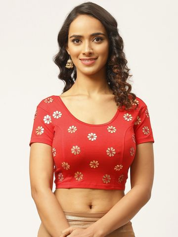 Vastranand | VASTRANAND Women Red Gotta Patti Design Stretchable Saree Blouse