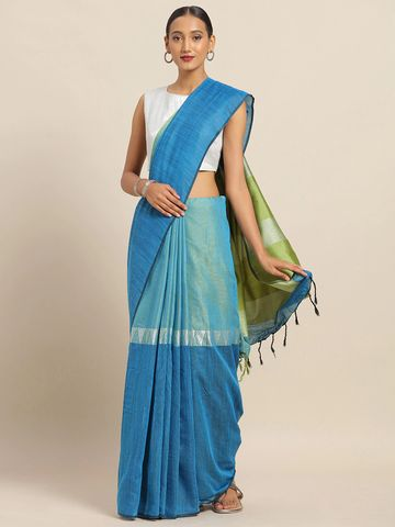 Vastranand | VASTRANAND Turquoise Blue & Green Linen Blend Colourblocked Banarasi Saree