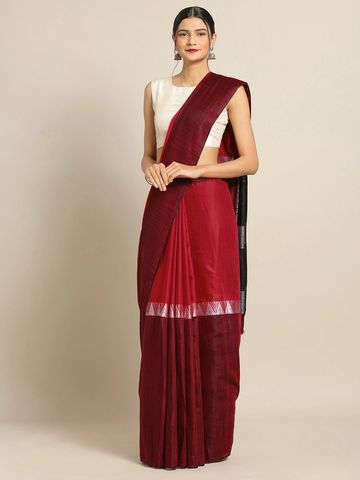 Vastranand | VASTRANAND Red & Maroon Linen Blend Colourblocked Saree
