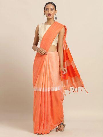 Vastranand   VASTRANAND Orange Linen Blend Colourblocked Banarasi Saree