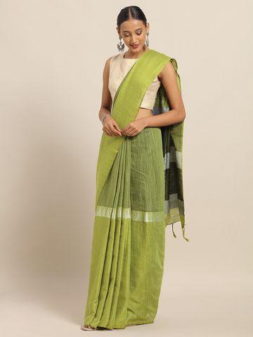 Vastranand | VASTRANAND Green Linen Blend Solid Banarasi Saree