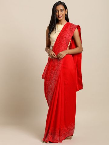 Vastranand | VASTRANAND  Red Embellished Silk Saree