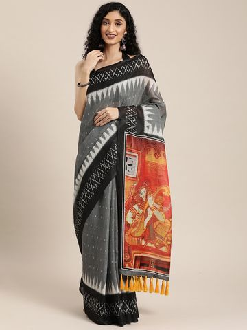 Vastranand | VASTRANAND  Grey & White Linen Blend Printed Ikat Saree