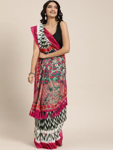 Vastranand | VASTRANAND  Black & White Linen Blend Printed Ikat Saree