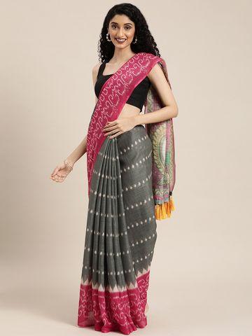 Vastranand | VASTRANAND  Grey & Pink Linen Blend Printed Ikat Saree