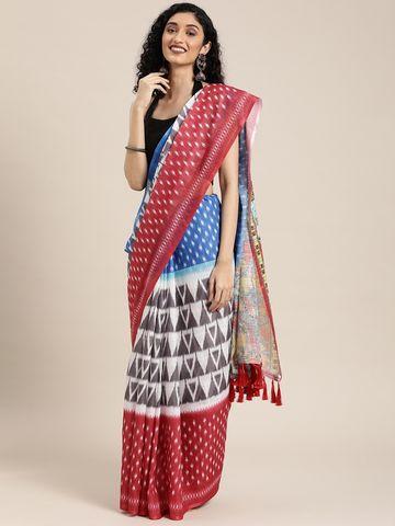 Vastranand | VASTRANAND  Blue & White Linen Blend Printed Ikat Saree