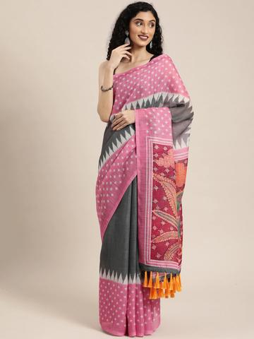 Vastranand | VASTRANAND  Grey Linen Blend Solid Ikat Saree