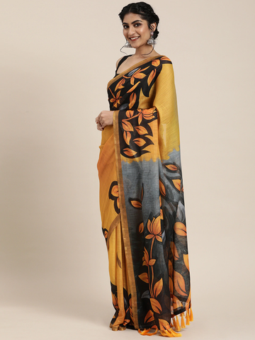 Vastranand | VASTRANAND  Mustard Yellow & Black Linen Blend Printed Ikat Pochampally Celebrity Saree