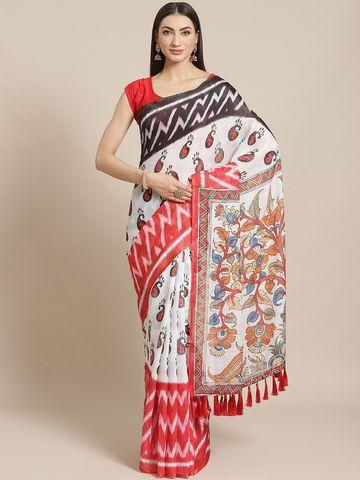 Vastranand | VASTRANAND  White & Black Floral Printed Ikat Designer Saree