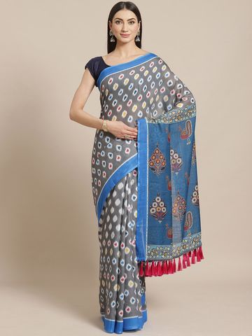 Vastranand | VASTRANAND  Grey & Yellow Printed Ikat Saree