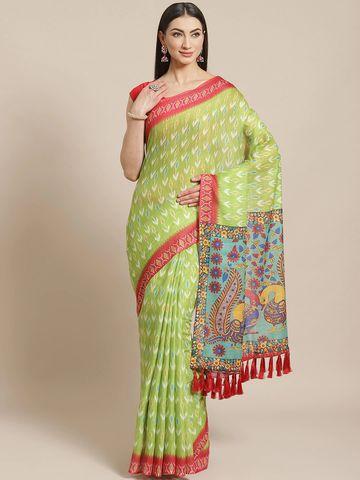 Vastranand | VASTRANAND  Green & Blue Printed Ikat Saree