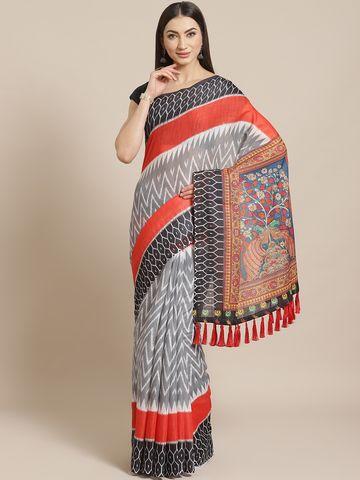 Vastranand | VASTRANAND  Grey & White Printed Ikat Saree
