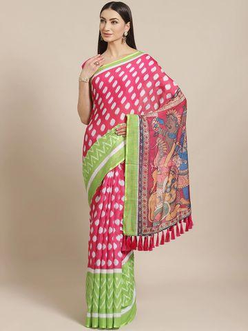 Vastranand | VASTRANAND  Pink & Green Printed Ikat Saree