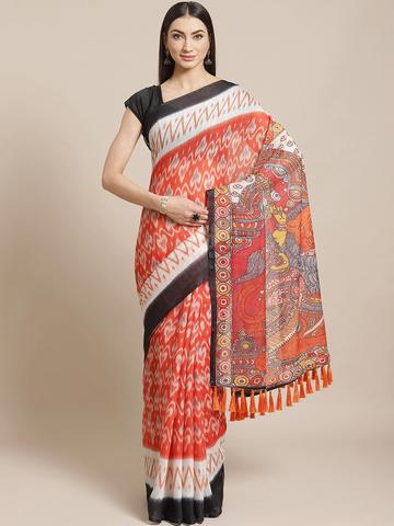 Vastranand | VASTRANAND  Orange & Off-White Geometric Printed Ikat Designer Saree