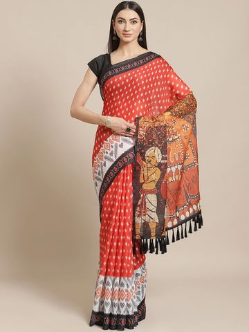 Vastranand | VASTRANAND  Rust Orange & White Ikat Kalamkari Print Pochampally Saree