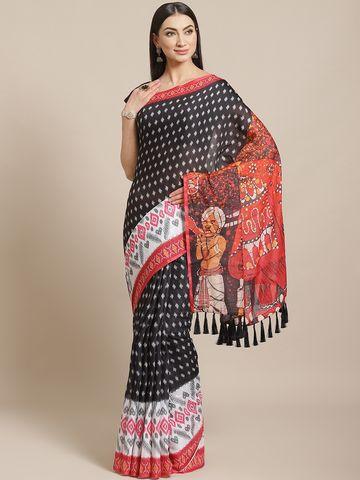 Vastranand | VASTRANAND  Black & White Ikat & Kalamkari Print Pochampally Saree
