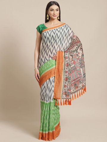 Vastranand | VASTRANAND  Off-White & Charcoal Grey Printed Ikat Saree