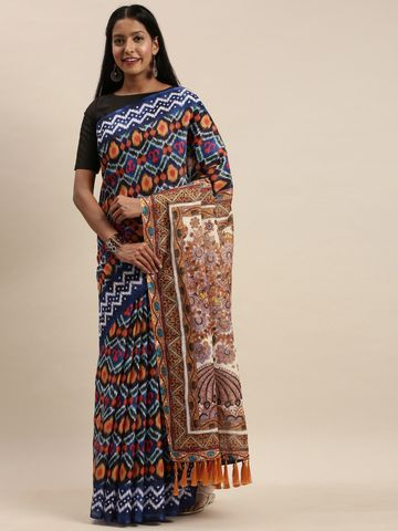 Vastranand | VASTRANAND Multicoloured Linen Blend Blend Printed Ikat Saree